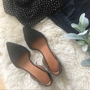 Madewell black leather and suede D'orsay flats